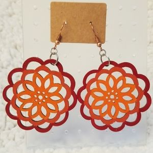 Orange And Red Ombre Wood Earrings